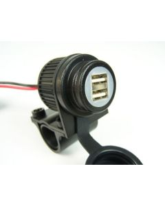 Dual USB socket for motorbikes 12-24V, for 22 mm / 25 mm handlebar